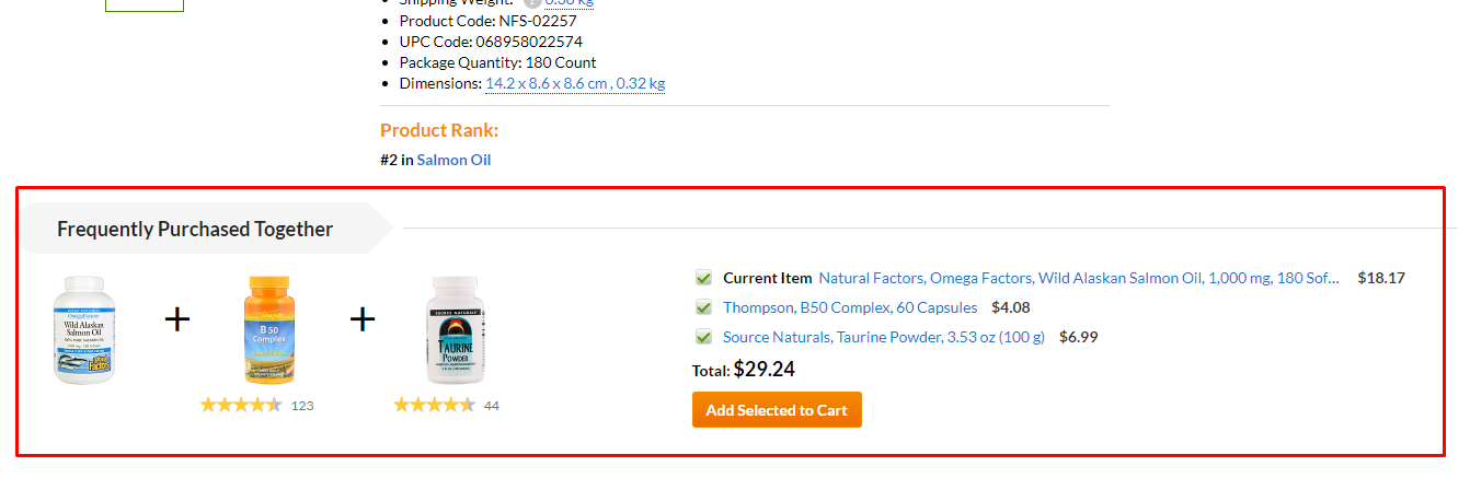 Frequently purchased together module in the store