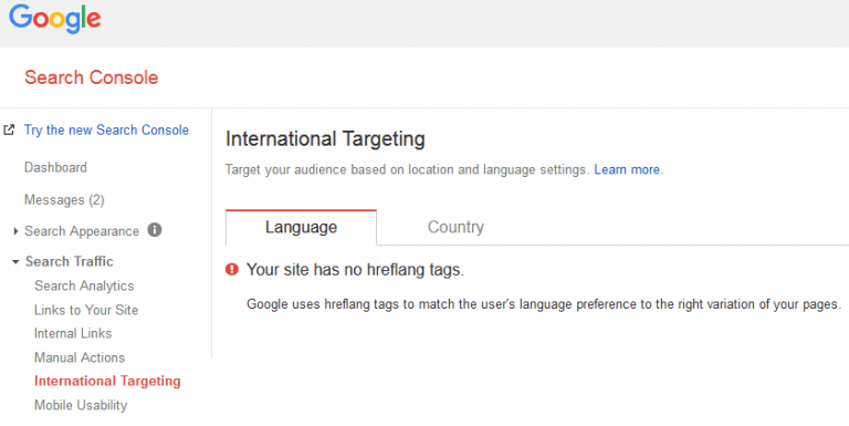 Country and language targeting in the Google Search Console