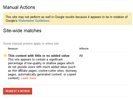 Site-wide matches in the Google Search Console