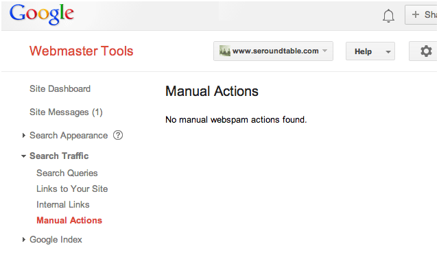 Manual action in the Google Search Console