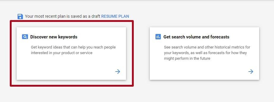 Search for new keywords in the Google Adwords Keyword Planner