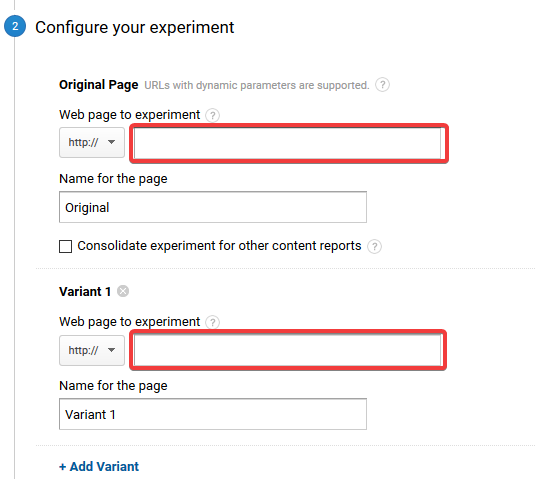 Configuration of the experiment in Google Analytics