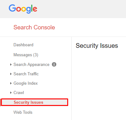 security problems on the site using Google Search Console