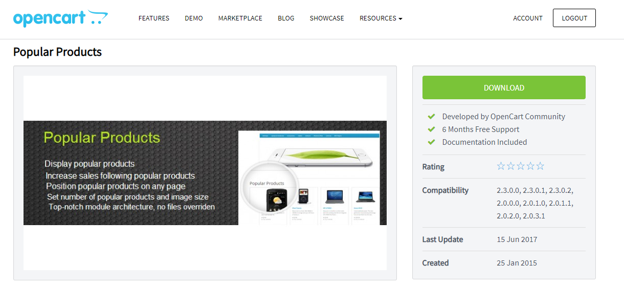 popular products module for opencart