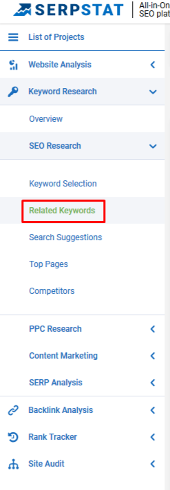 Related keywords in Serpstat