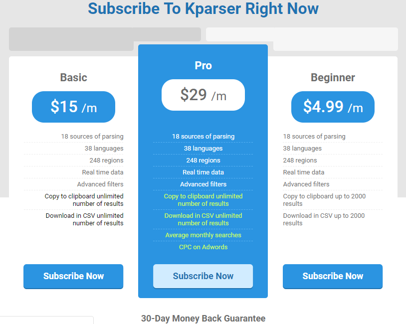 kparser pricing and tariffs