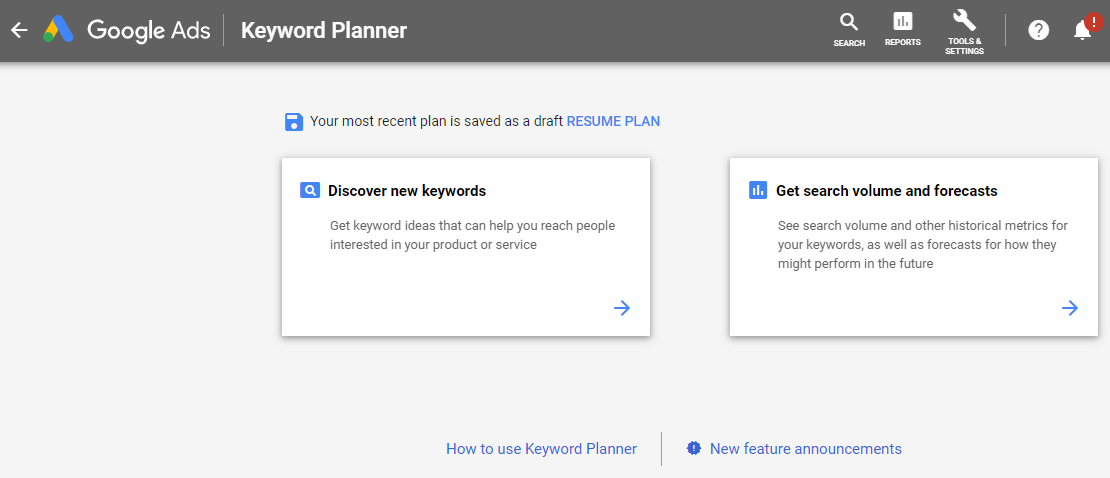 Search for keywords in the Google Ads Keyword Planner