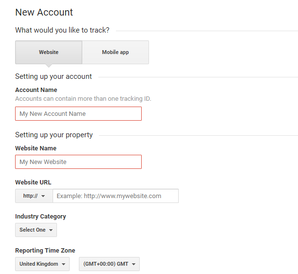 Account creation in Google Analytics