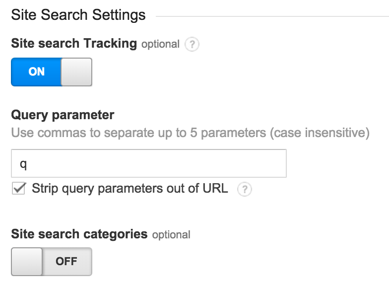 Site search settings Google Analytics and Adwords
