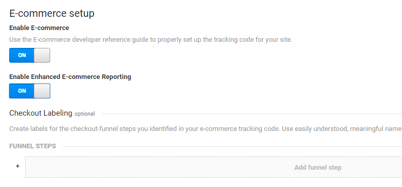 E-commerce setup in Google Analytics