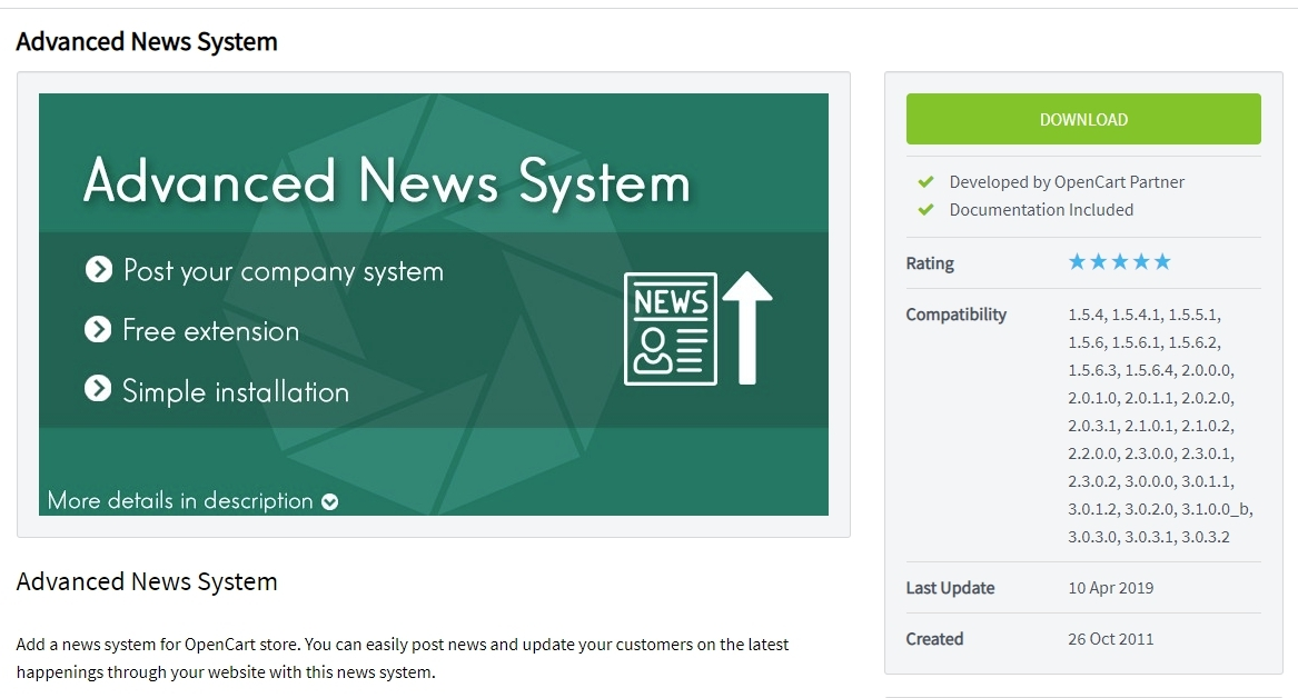 Advanced News System for Opencart