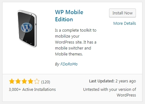 WP Mobile Edition Plugin for WordPress
