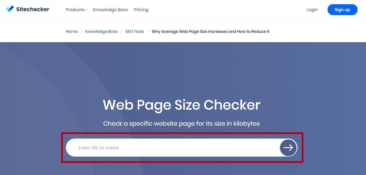 Checking page size online Sitechecker