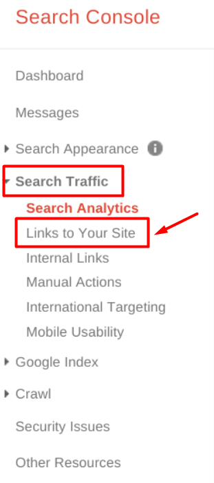 Links to your site in Google Search Console