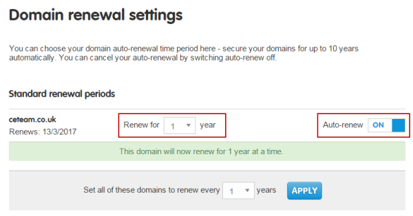 Domain renewal settings