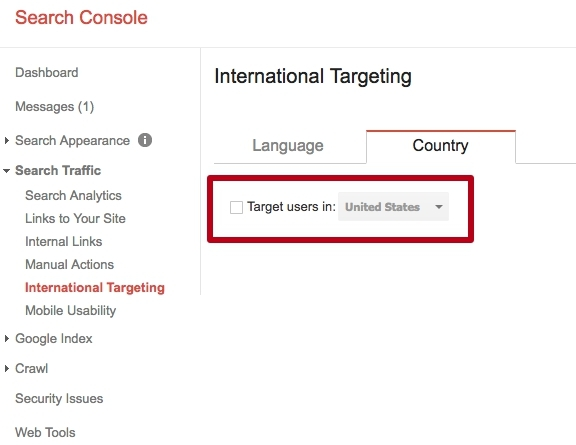Select targeting in the Google Search Console