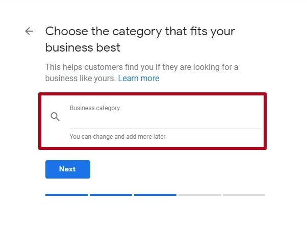 category listings on Google My Business