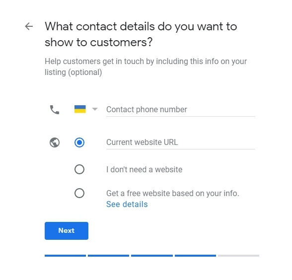 contact information in the Google My Business