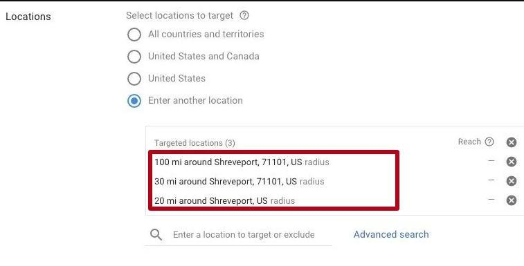 Geotargeting settings and location in Google Adwords