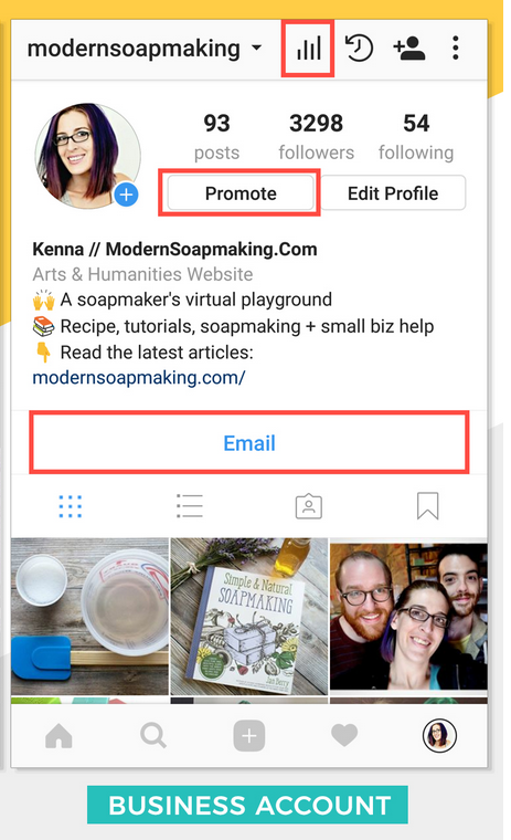 Business profile in Instagram