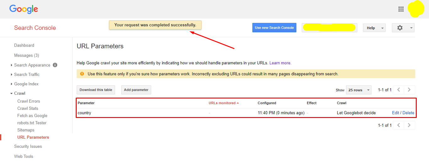 Saving URL parameters in the Google Search Console