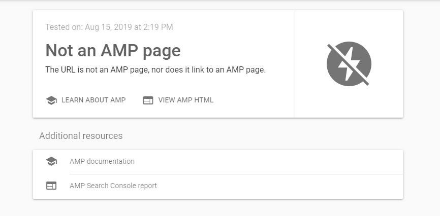 AMP page errors when checking in the Google Search Console