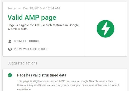Recommendations for AMP pages in Google