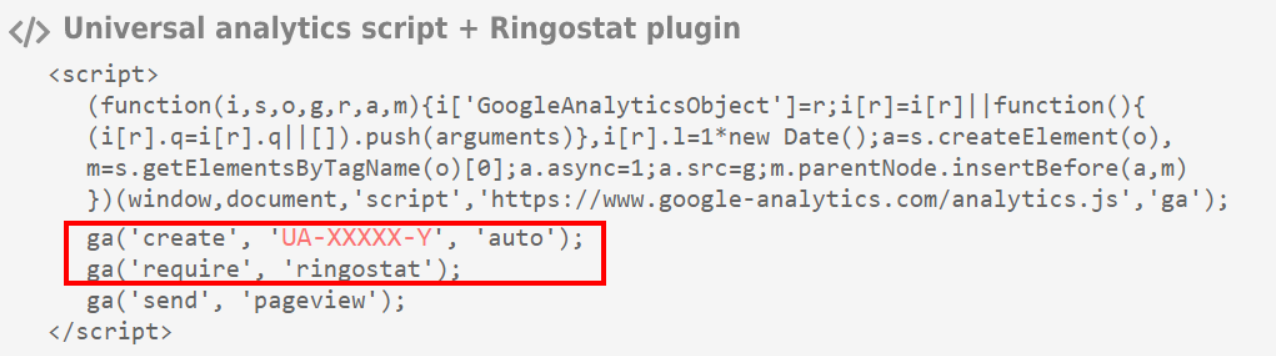 Google Universal Analytics script with Ringostat plugin