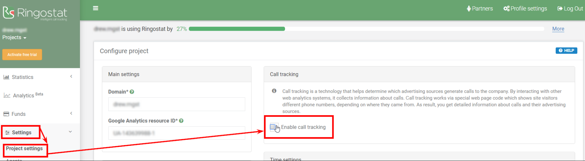How to enable call tracking in Ringostat