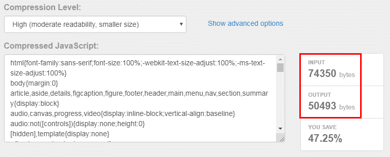 CSS weight reduction