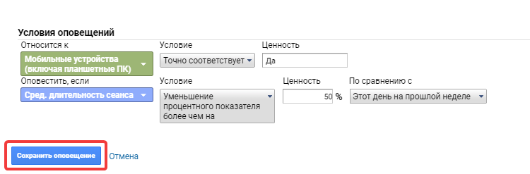 Как включить оповещения в Google Analytics