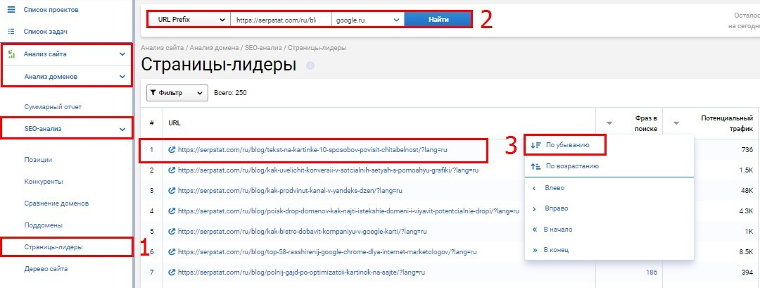 Отчет Страницы лидеры в Serpstat по запросу страниц с максимальным количеством ключевиков и минимальным потенциальным трафиком