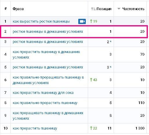 Отчет Serpstat по ключевым фразам
