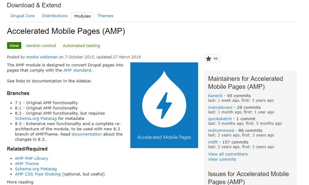 Плагин Accelerated Mobile Pages (AMP) для Drupal