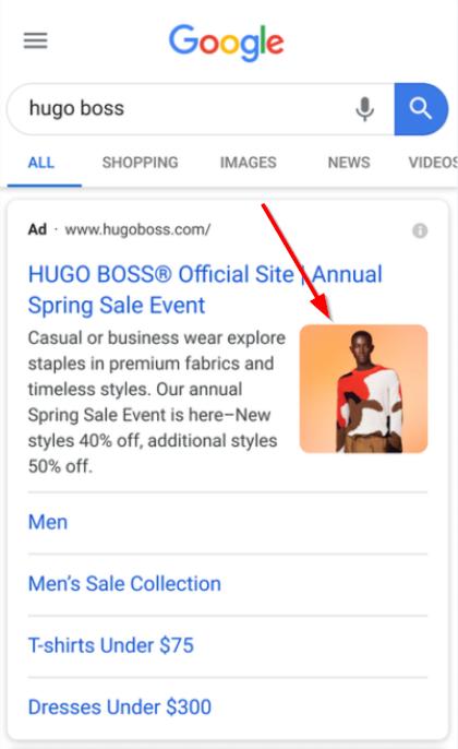 Расширение с изображением в поисковых объявлениях