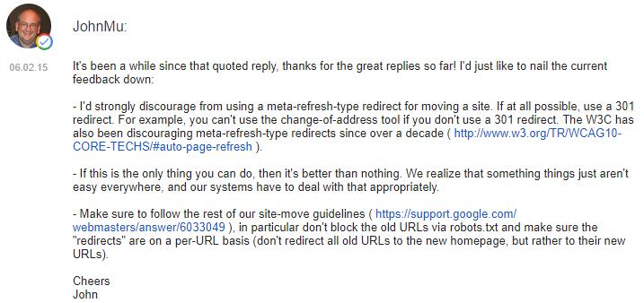 Рекомендации Джона Мюллера по HTML Refresh