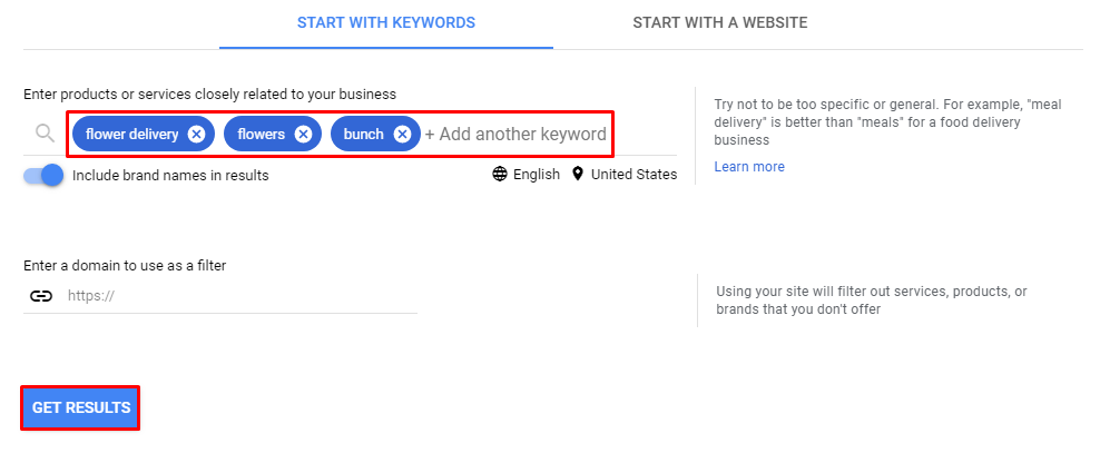 Searching new phrases with Google Keyword Planner