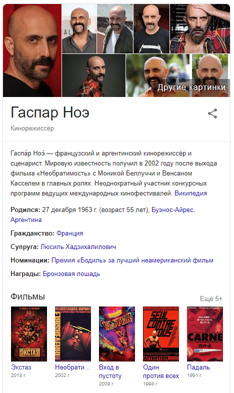 Knowledge Graph Гаспар ноэ экстаз Вход в пустоту