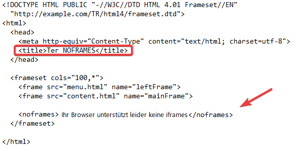 Tag Noframes in HTML
