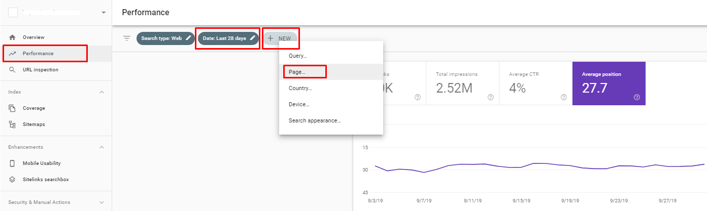 Page performance in Google Search Console