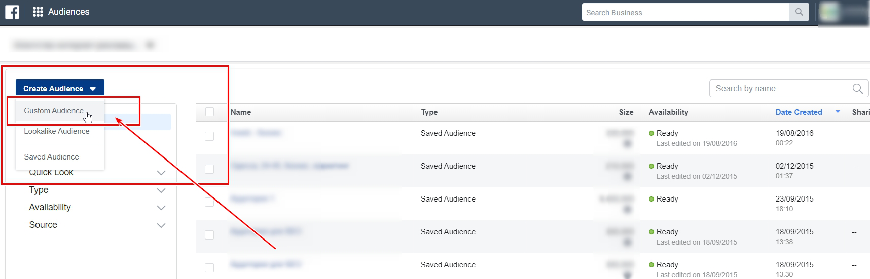 Creating audience in Facebook Ads Manager