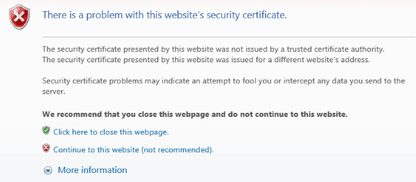 Problem with this website's security certificate