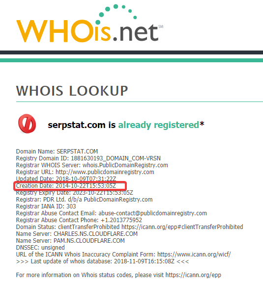 Whois domain age verification