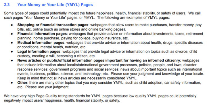 Google YMYL Page Ranking
