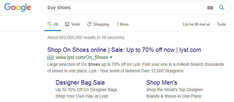 Contextual advertising in search