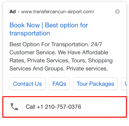 Contact details in Google Adwords ad