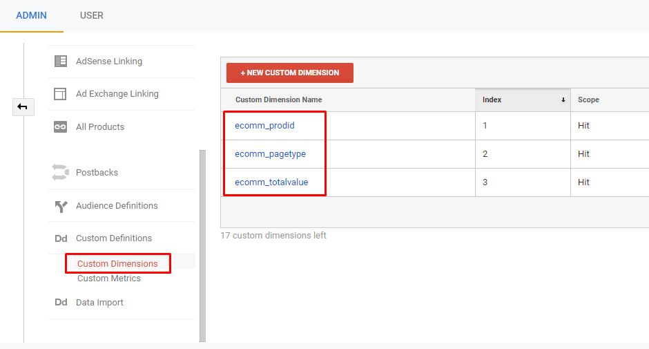 Google Analytics specific options