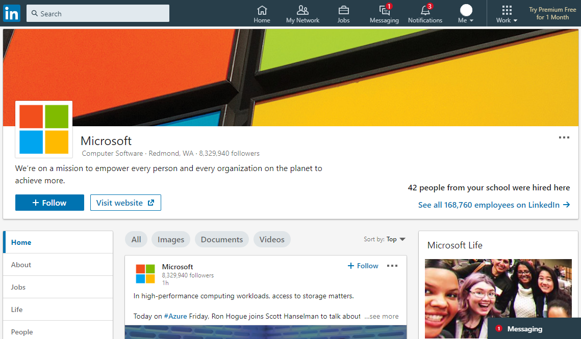 LinkedIn Business Page Example