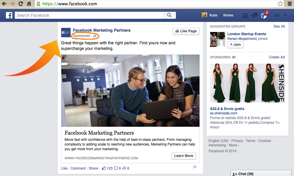 Facebook Targeted Advertising Example