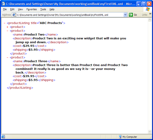 An XML file in web browser